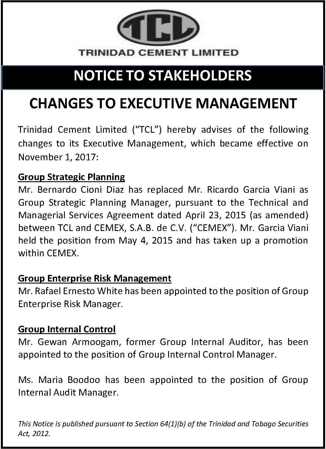1 (a) Changes to Management - Group Mngt - November 4 2017