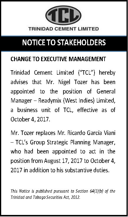 1 (c) Change to Management - GM-RML - October 6 2017