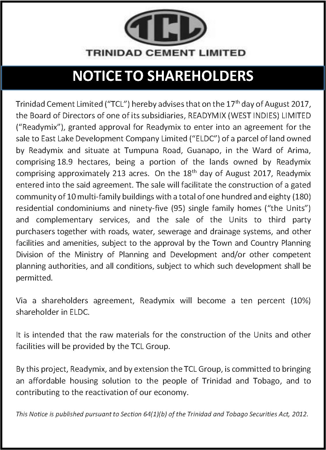 2 Notice to RML Shareholders - East Lake Dev Project - August 22 2017