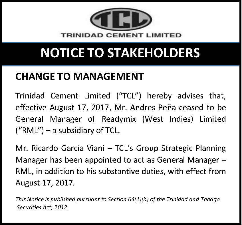 3 Change to Management - GM-RML - August 19 2017