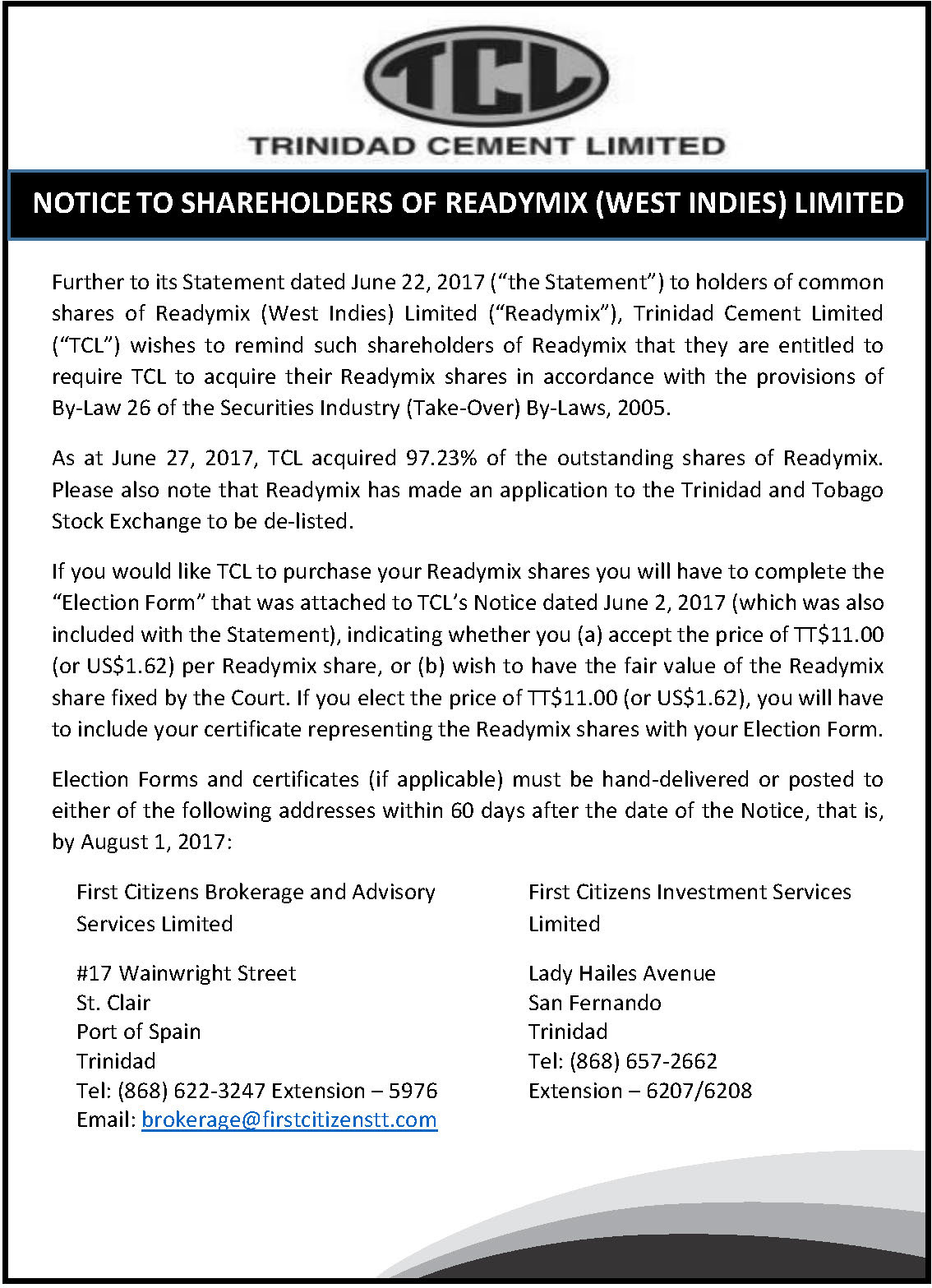 7 RML Delisting and Shares Selling Option - July 11 2017